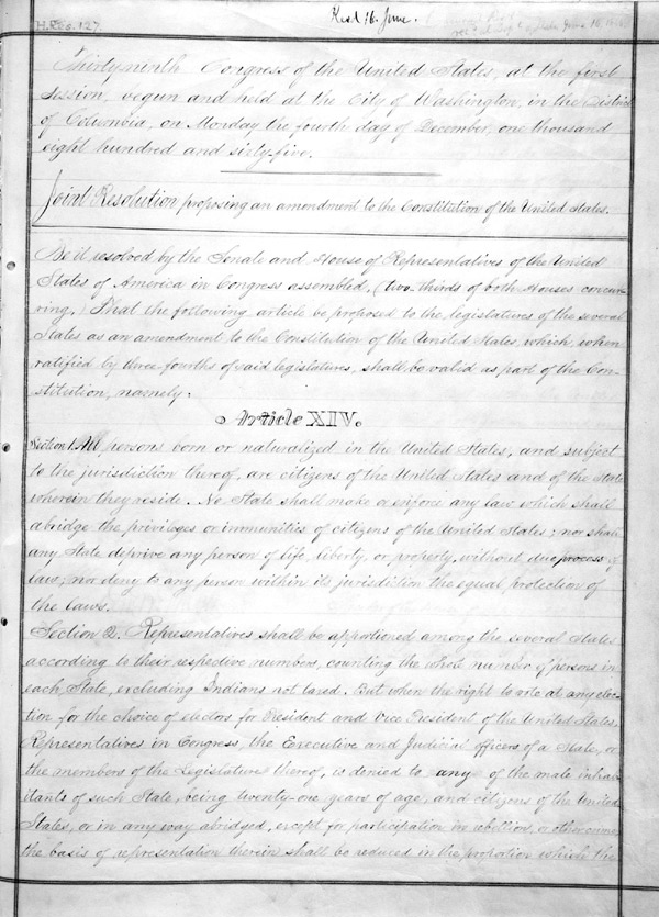 The fourteenth amendment national archives and records administration
