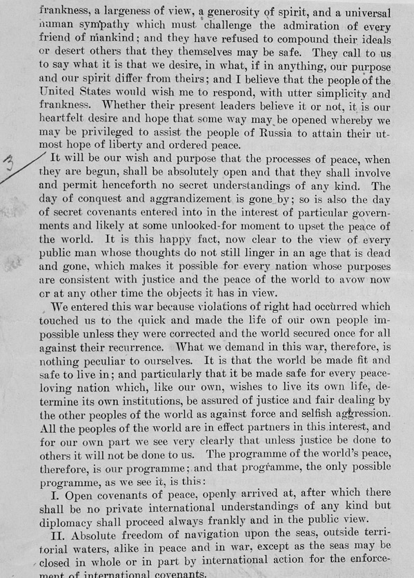 fourteen points by woodrow wilson essay President woodrow wilson's fourteen points on january 8, 1918 president woodrow wilson gave a proposal to congress which outlined the post world war i peace treaty.