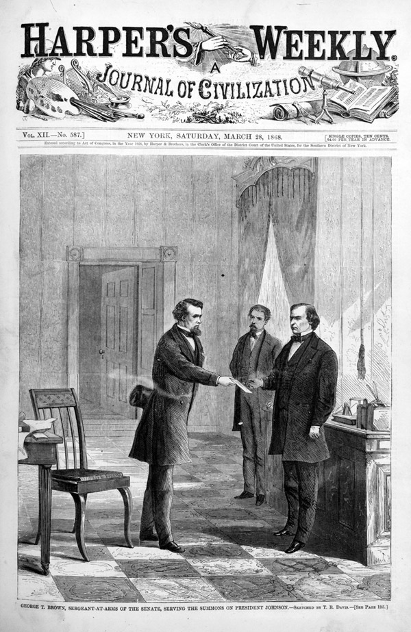 an analysis of the impeachment of andrew johnson The us house of representatives votes 11 articles of impeachment against  president andrew johnson, nine of which cite johnson's removal of secretary of .