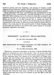 Image for: Andrew Jackson: Proclamation to the People of South Carolina Regarding Nullification
